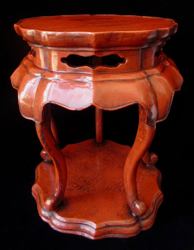Antique Japanese Negoro Red Lacquer Stand