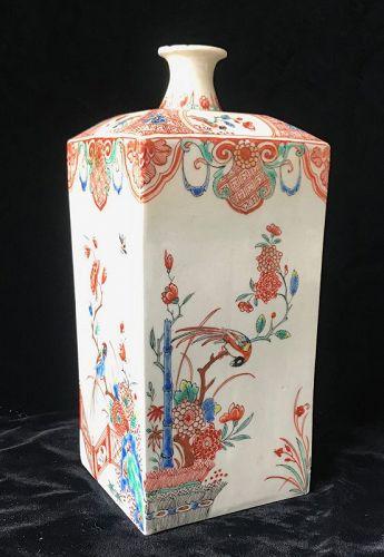 19th Century Japanese Arita Porcelain Square Sake Bottle