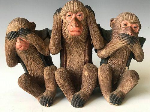 Japanese Terracotta Three Wise Monkeys