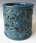 Chinese Pierced Monochrome Porcelain Brushpot with Cranes
