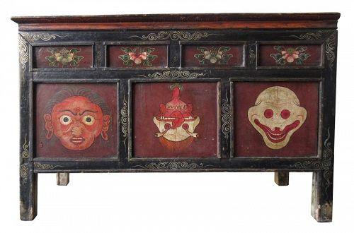 Rare 18th Century Tibetan Buddhist Painted Altar Cabinet