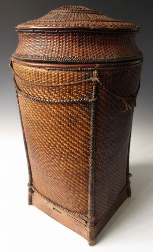 Antique Hand-Woven Southeast Asian Tribal Basket