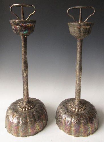 Japanese Pair of Silver Shokudai Candle Sticks