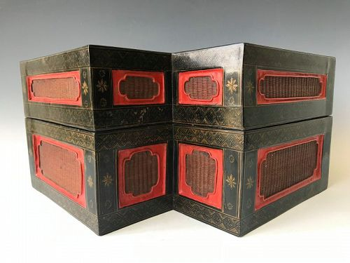 Double Diamond Chinese Laquer Box with Wicker Inserts