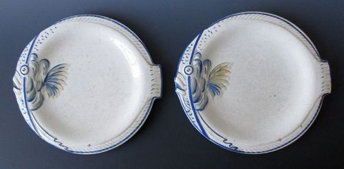 Japanese Pair of Blue and White Fish Plates