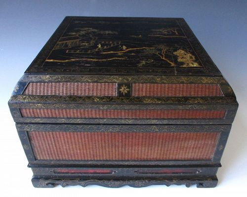Chinese 18th Century Square Woven and Lacquered Box