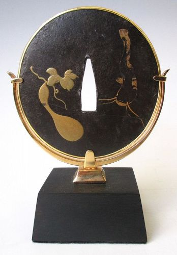 Antique Japanese Tsuba with Gourd and Catfish