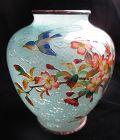 Japanese Antique Plique-a-jour Cloisonne Vase with Bird
