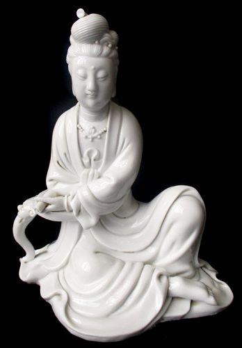 Chinese Blanc de Chine Porcelain Figure of Quan Yin