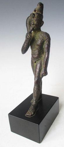 Rare Antique Egyptian Bronze Walking Nobleman