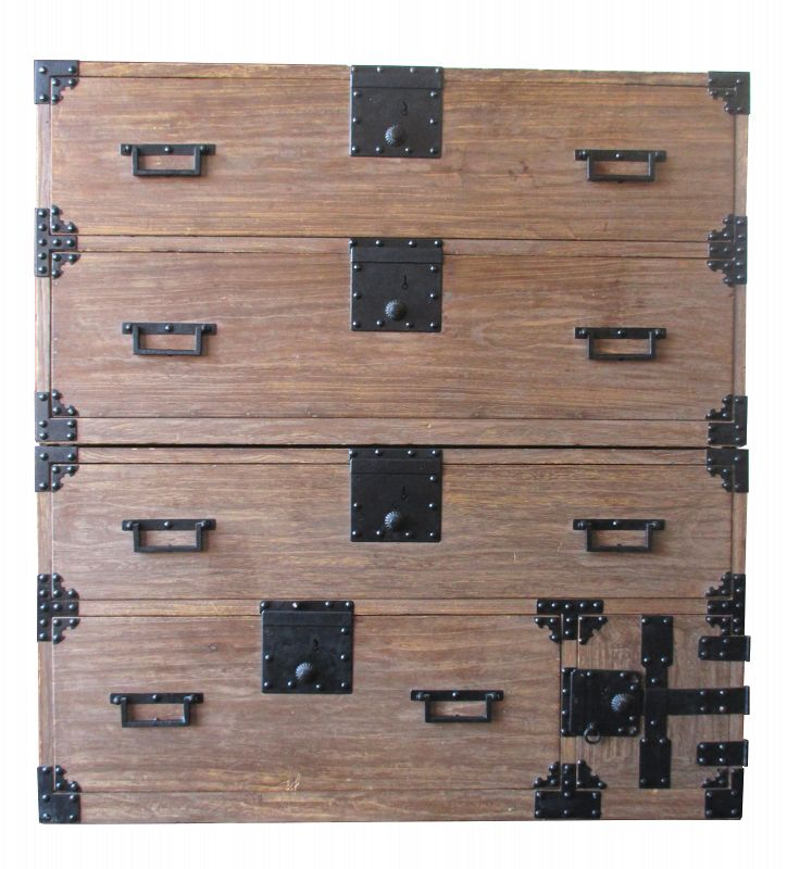 Japanese 2-section Kiri Isho Tansu with Square Locks