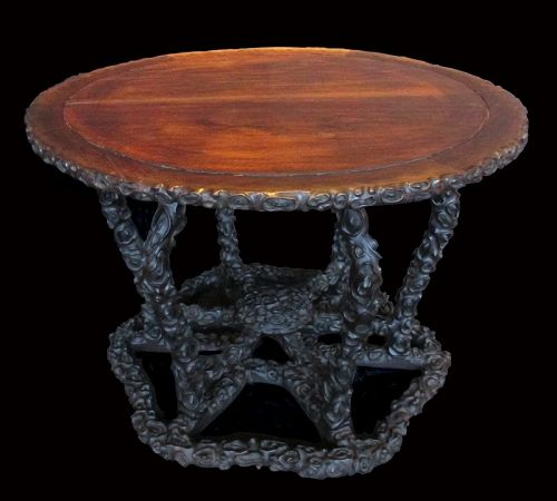 Chinese Zitan Carved Round Table