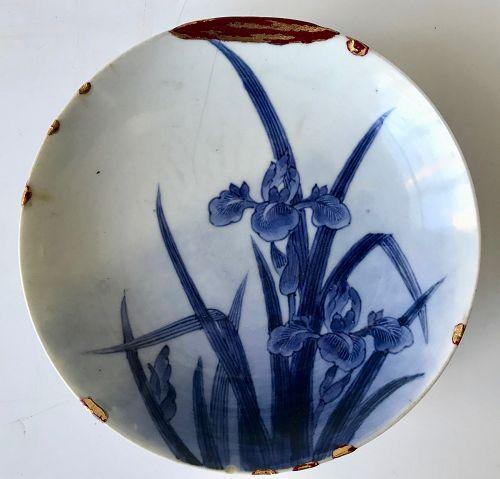 Antique Nabeshima Plate with Iris