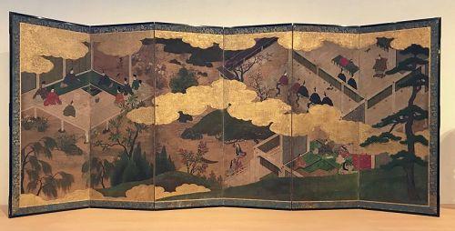 Antique Japanese Screen Tale of Genji