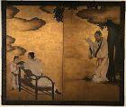 Antique Japanese Screen Tale of Genji - The Longevity Turtle