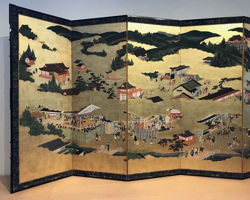 Antique Japanese Screen - Nara's Matsuri Rice Festival