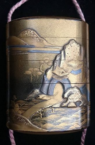 Antique Japanese Inro with Gold Landscape