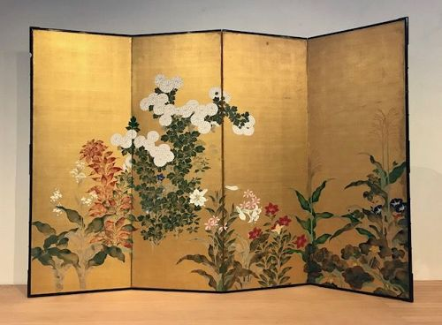 Antique Japanese Screen - Language of Flowers