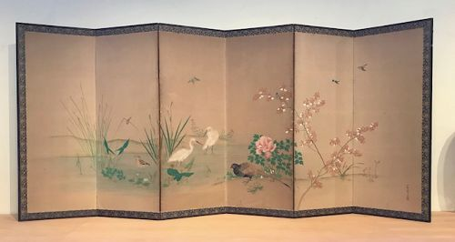 Anitque Japanese Screen - Birds and Flowers