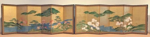 Rare Pair of Antique Japanese Screen - Four Seasons of Ginza
