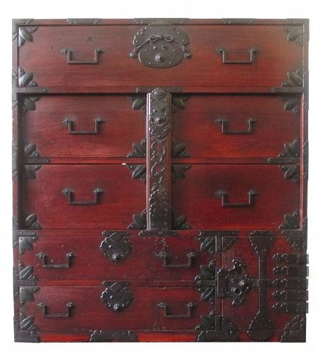 Japanese Lacquered Tansu with Locking Bar, Mikuni Prefecture