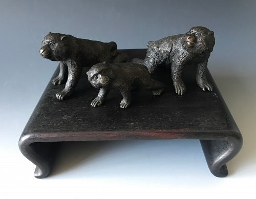 Antique Japanese Seiya Bronze Group of Three Macaques