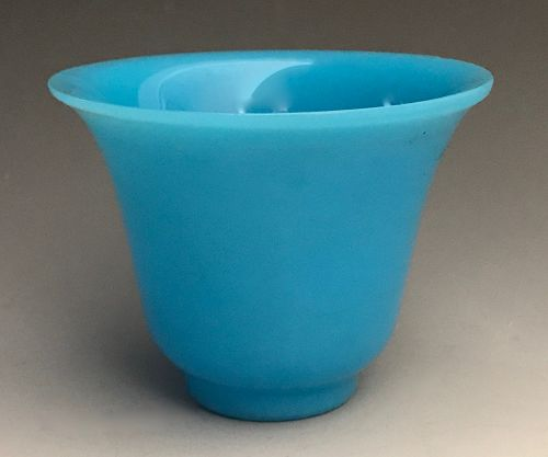 Antique Chinese Turquoise Peking Glass Wine Cup