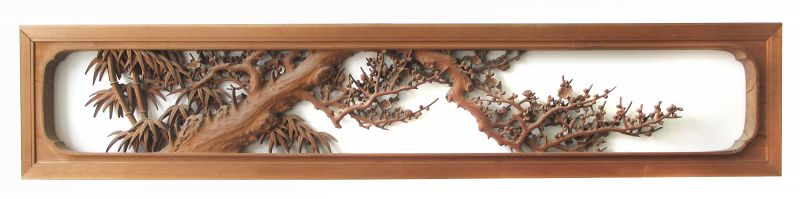 Large Japanese Ranma (Transom) Carving of Plum and Bamboo