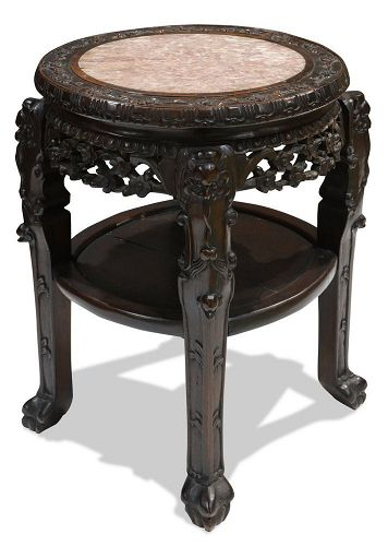 Antique Chinese Side Table with Marble Insert
