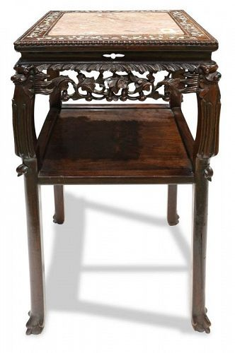 Antique Chinese Mother-of-Pearl Inlaid Tiered Table