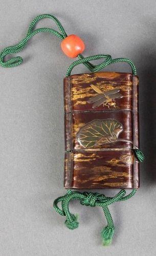 Antique Japanese Dragonfly Inro signed Shibata Zeishin