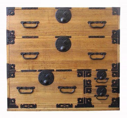 Antique Japanese  Kiri Tansu with Round Locks