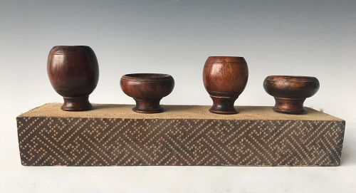 Antique Chinese Huanghuali Wood Bird Feeders
