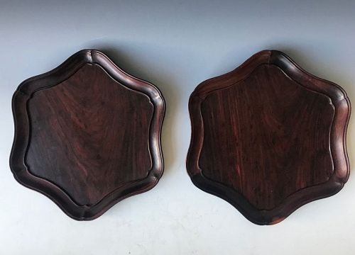 Antique Pair of Chinese Huanghuali Trays