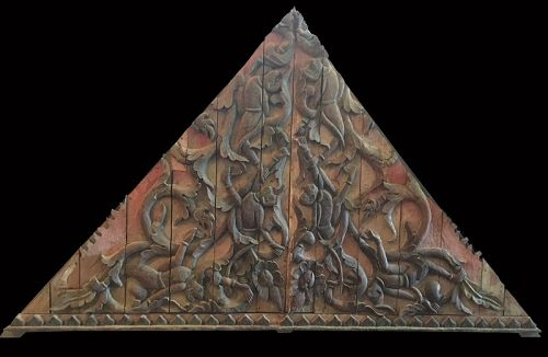 Thai Chua, Triangular Architectural Pediment with Monkeys