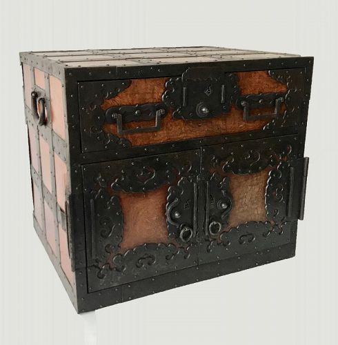 Very Rare Edo Iron Strapped Japanese Fune Tansu