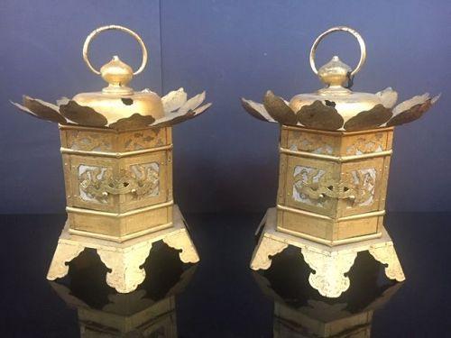 Japanese Pair Hanging Gilt Bronze Lanterns