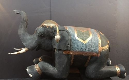 Antique Pair Thailand Carved Temple Elephants