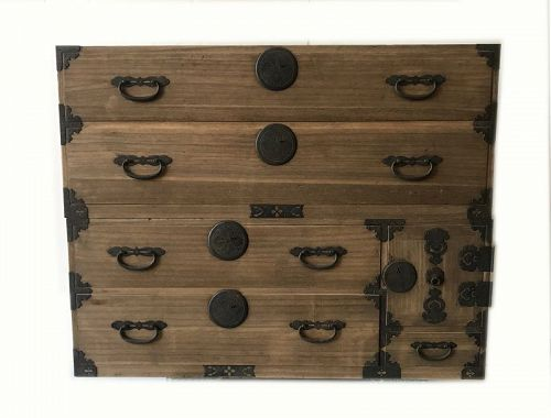 Antique Japanese Two Sectional Nogoya Tansu