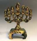 An Antique Bronze Tang-Sui Votive with 7 Buddhas