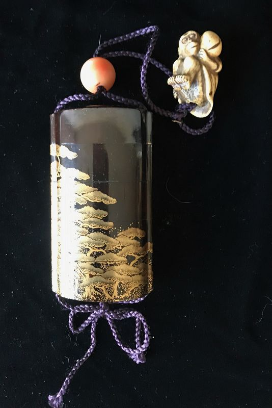 Antique Japanese Lacquer Inro with Pine Trees