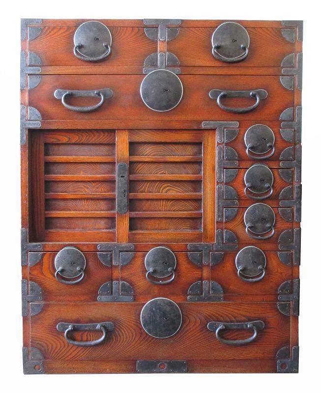 Stunning Japanese Antique Keyaki Wood Matsumoto Choba Tansu