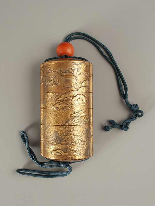 Japanese Gold Lacquer Inro with River and Trees, Meiji period