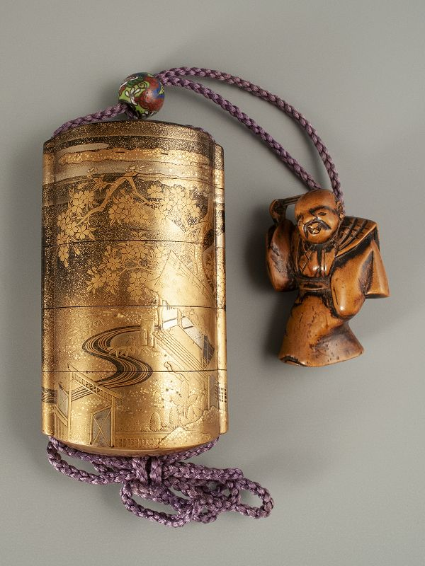 Japanese Gold Lacquer Inro with Mountain Cottage and Boxwood Netsuke