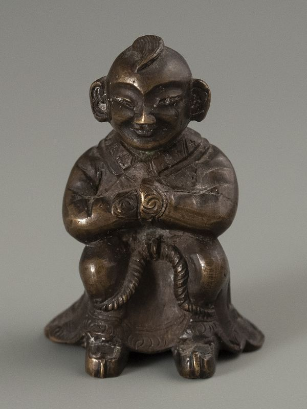 Chinese Ming Dynasty Small Bronze Scroll Weight of Seated Man