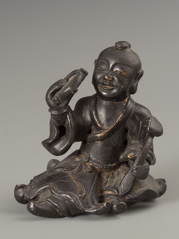 Chinese Ming Dynasty Bronze Scholar Object of an Immortal
