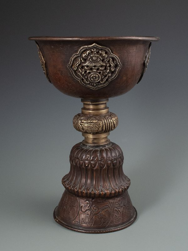 Himalayan Antique Copper Tall Yak Butter Lamp