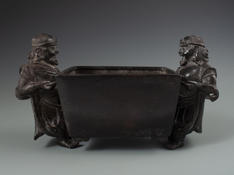 Chinese Antique Bronze Censor with Bearded Figures