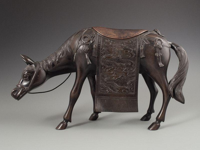 Chinese Antique Bronze Horse Censor,  19th Century