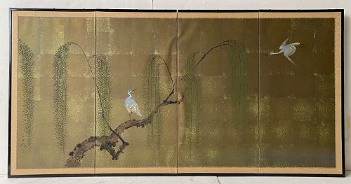 Japanese Four Panel Heron Screen